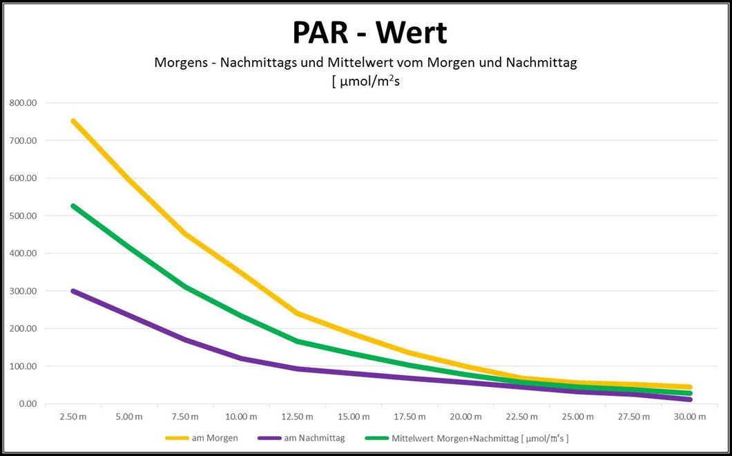 PAR-Wert unter Wasser Morgen, Nachmittag und Mittelwert vom Morgen und Nachmittag
