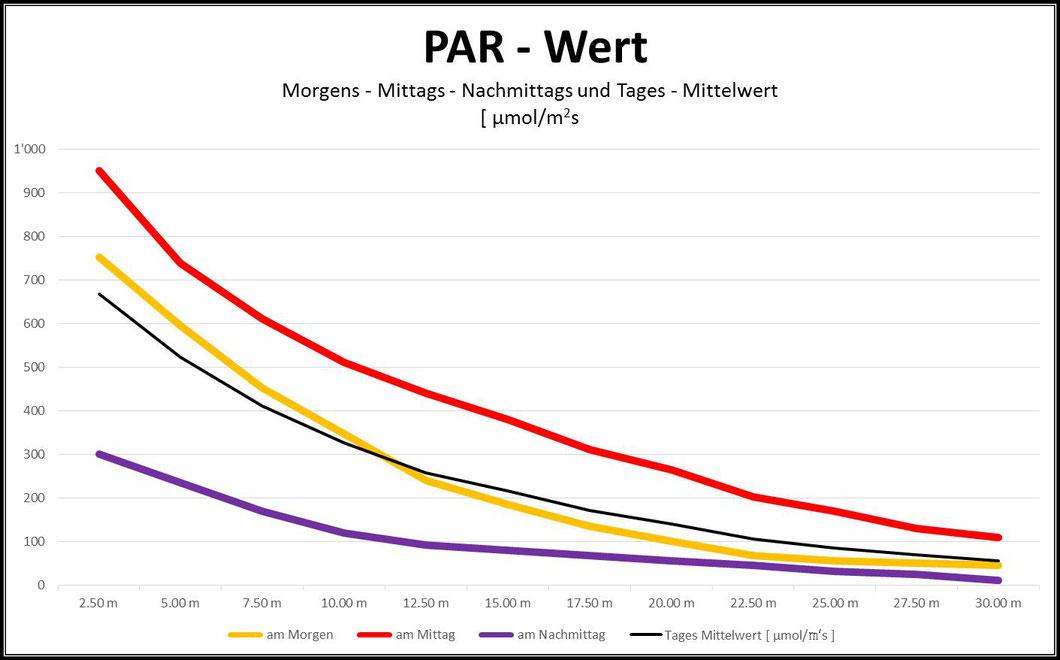 PAR-Wert unter Wasser Morgen, Mittag, Nachmittag mit Mittelwert