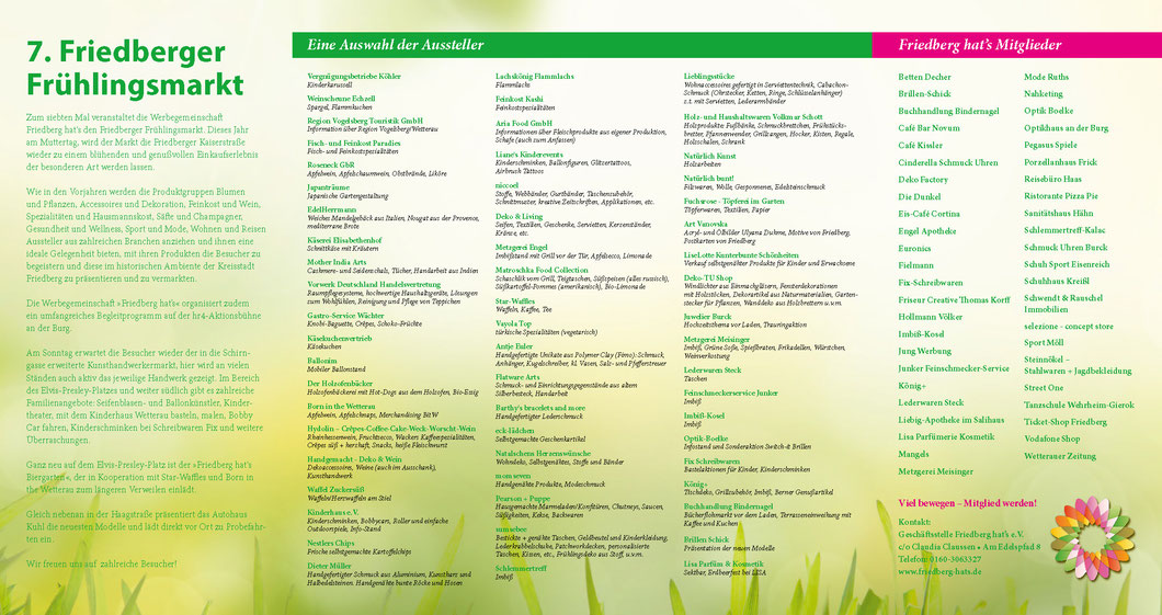 Programm und Aussteller Friedberger Frühlingsmarkt 2015