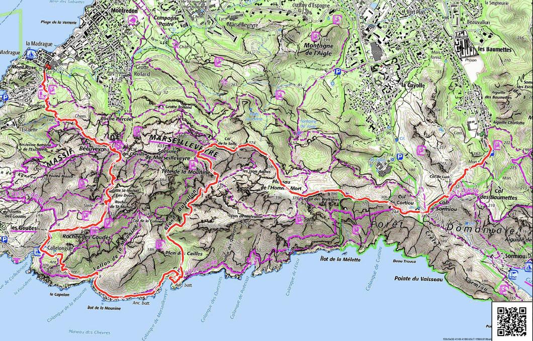 Tracé de la randonnée en rouge sur la carte