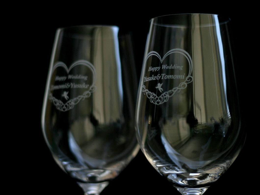 ペアワイングラスセット 名入れギフト 結婚お祝い 記念品 7-Colors鶴岡ガラスアート工房 山形庄内 記念品オーダー製作