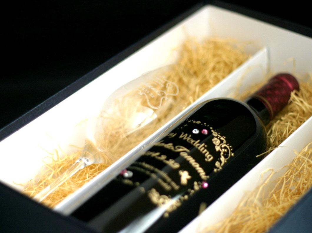 ワインとペアワイングラスセット 名入れ彫刻 7-Colors鶴岡ガラスアート工房 結婚お祝いギフト