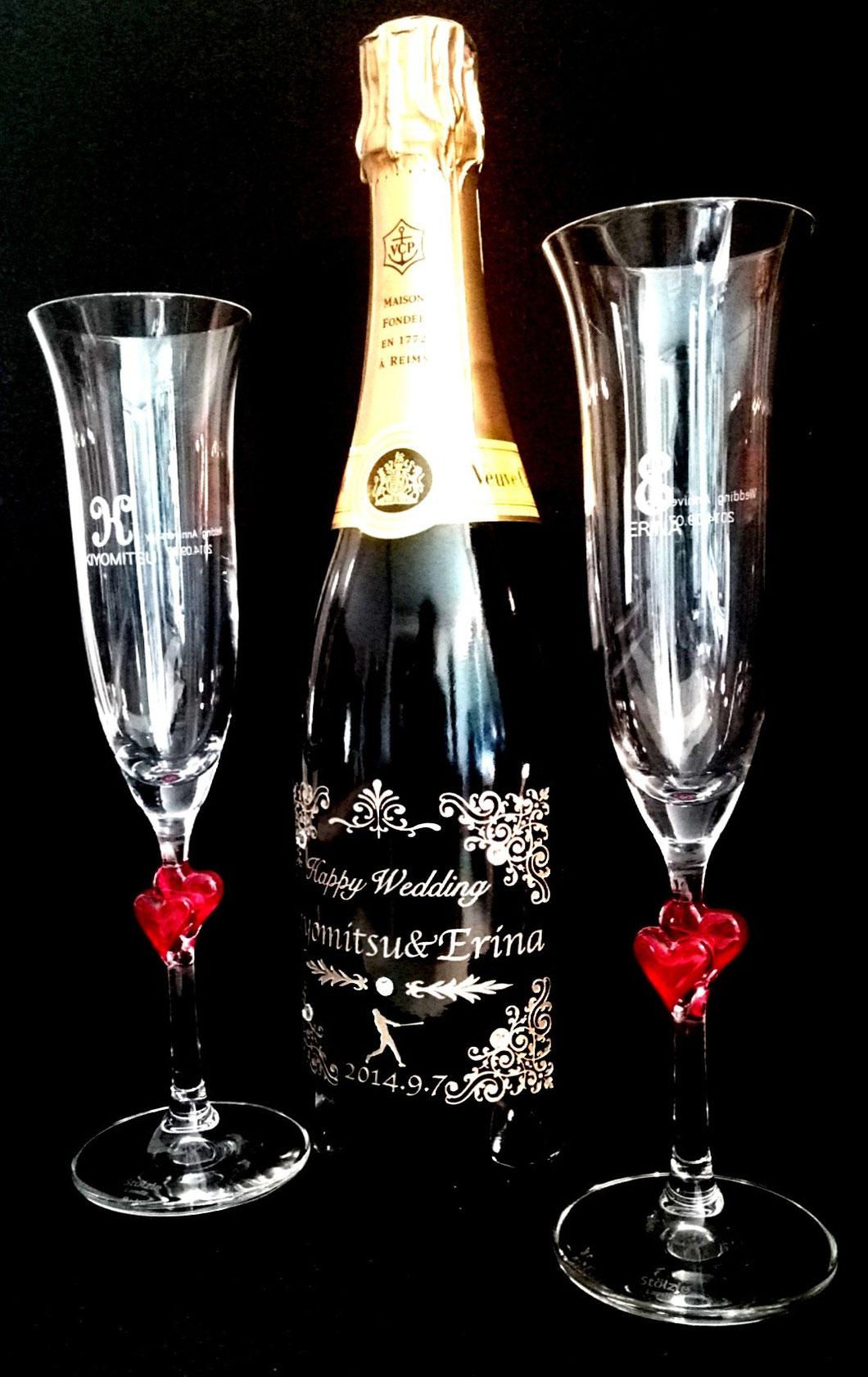 シャンパンとペアシャンパングラスセット ヴーヴクリコ ワイングラス 7-Colors鶴岡ガラスアート工房 結婚祝い 名入れギフト