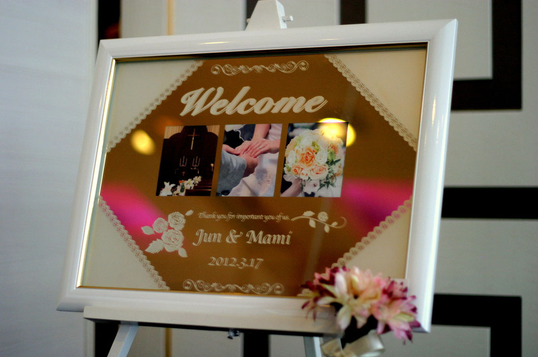 ブライダルミラーウェルカムボード 名入れ彫刻ギフト 結婚記念お祝い 7-Colors鶴岡ガラスアート工房 山形庄内 オリジナルオーダー製作 サンドブラスト彫刻