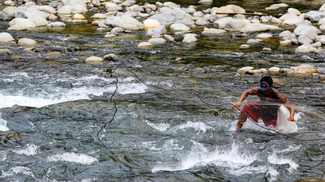 Auch die Einheimischen nutzen den Fluss als Essensquelle, Bukit Lawang