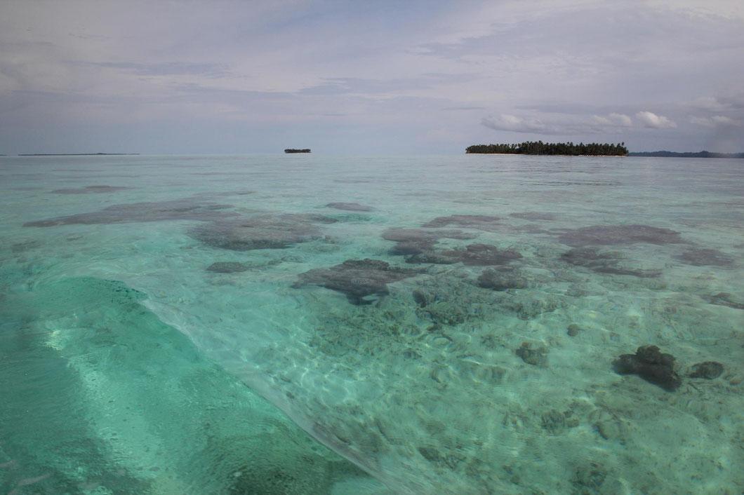 Auf der Fahrt nach Tailana - die einzige Abwechselung sind Kokospalmeninseln