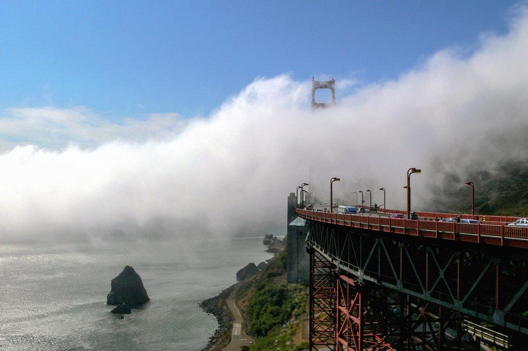 An der Küste des Pazifik sieht die Welt schon wieder anders aus: San Francisco ist eine europäisch wirkende Großstadt, hier dominieren Nebel...