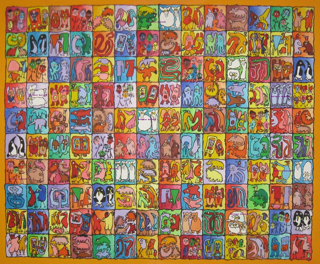 Beziehungskistchen    Acryl auf Leinwand  120/100 cm    November 2004