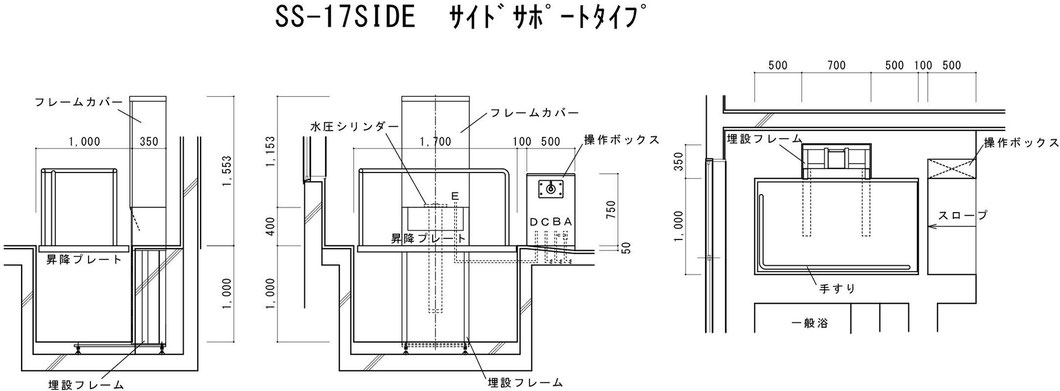 SS-17SIDE サイドサポートタイプ 図面