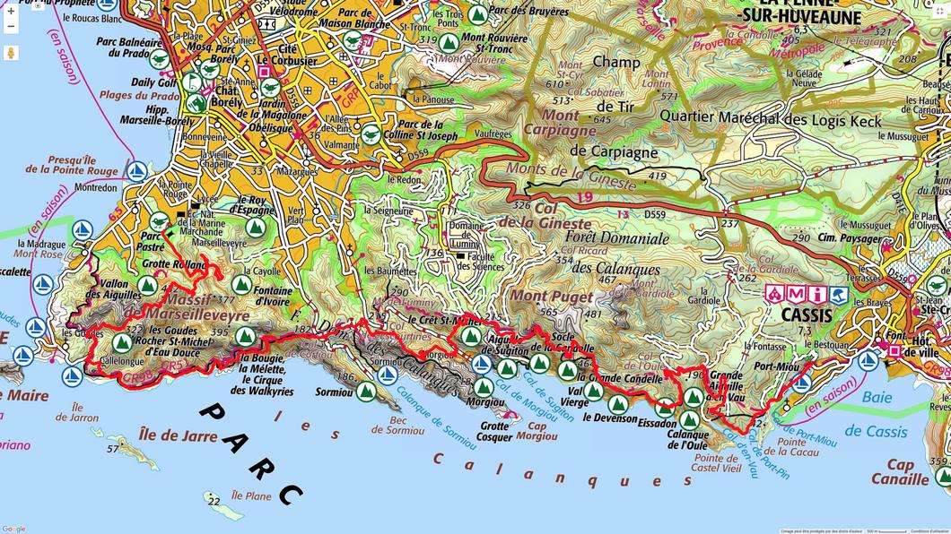 Le parcours de Port-Miou à Pastré en rouge sur la carte.