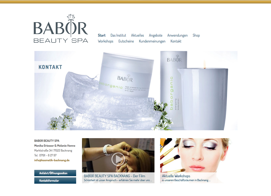 Babor Beauty Spa Website