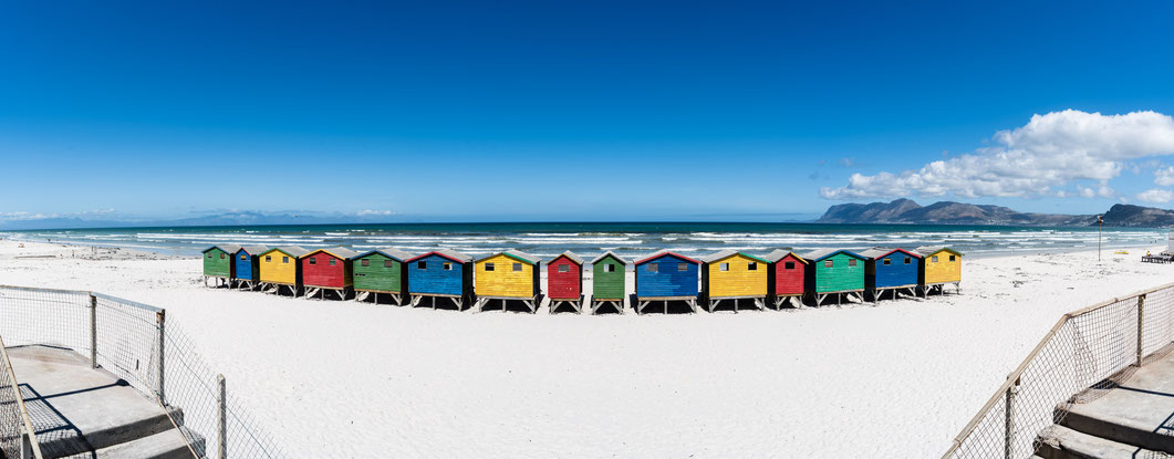 Panoramic of the colourful beach houses of Muizenberg, South Africa