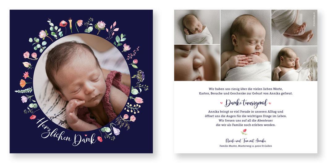 Geburtskarte Geburtsanzeige Dankeskarte Geburt kartendings.ch Schweiz mit Blumen