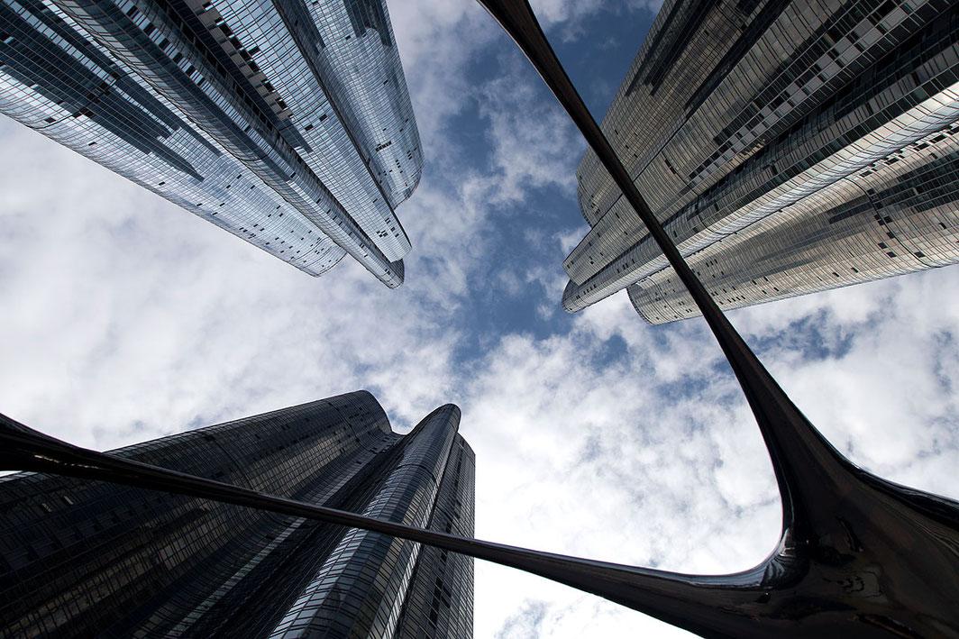 Haeundae Udong, Hyundai, iPark at Busan, Korea look through a sculpture and skyscrapers, 1280x853px