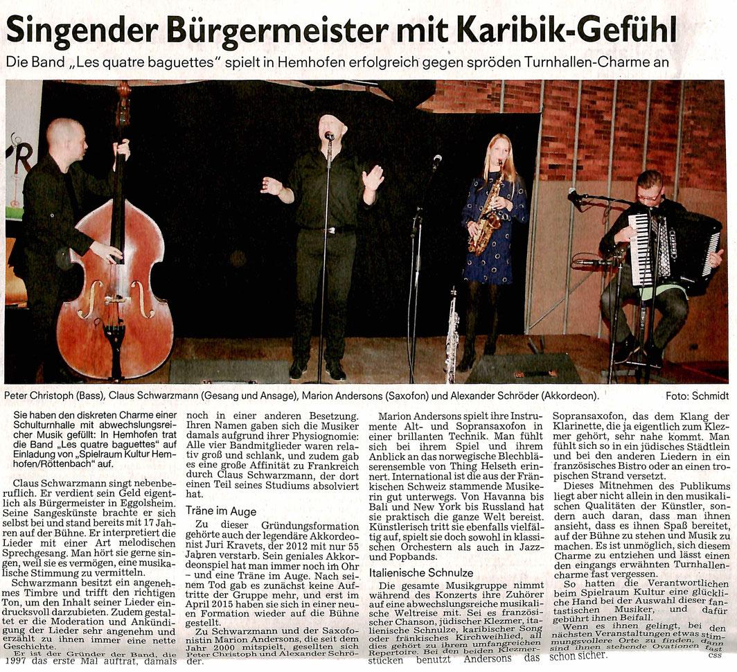 """Die Les quatre baguettes nehmen """"während des Konzerts ihre Zuhörer auf eine abwechslungsreiche musikalische Weltreise mit""""."""