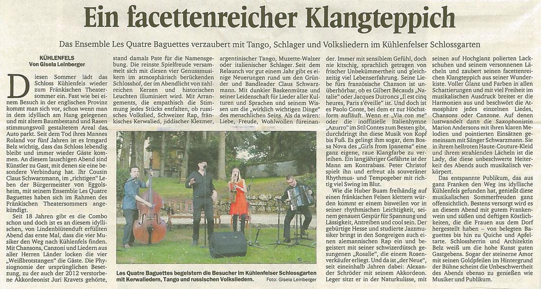 Kritik aus den Nordbayerischen Nachrichten vom 01.07.2016 zum Auftritt im Schlossgarten Kühlenfels.