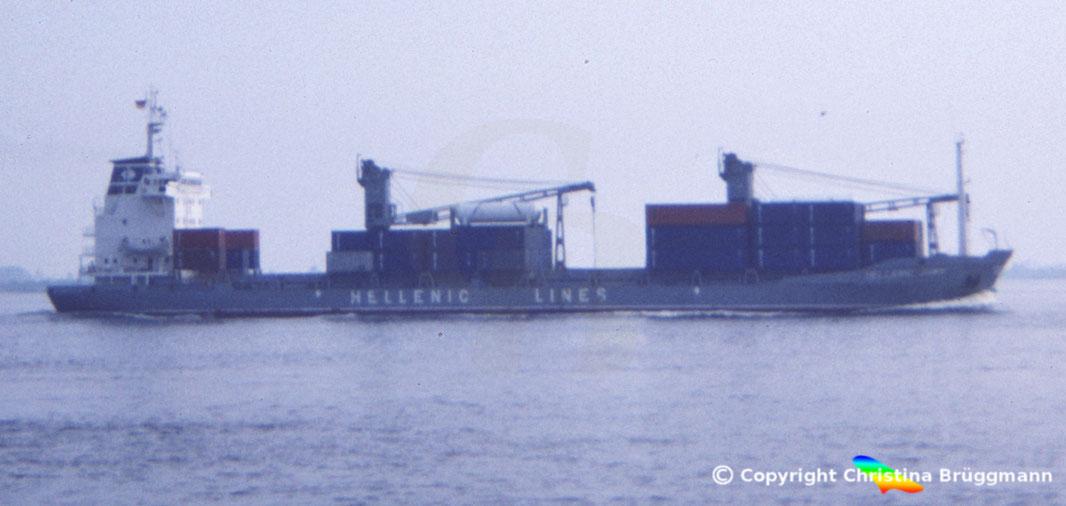 Mehrzweck-Containerschiff HELLENIC DAWN, Elbe 1983