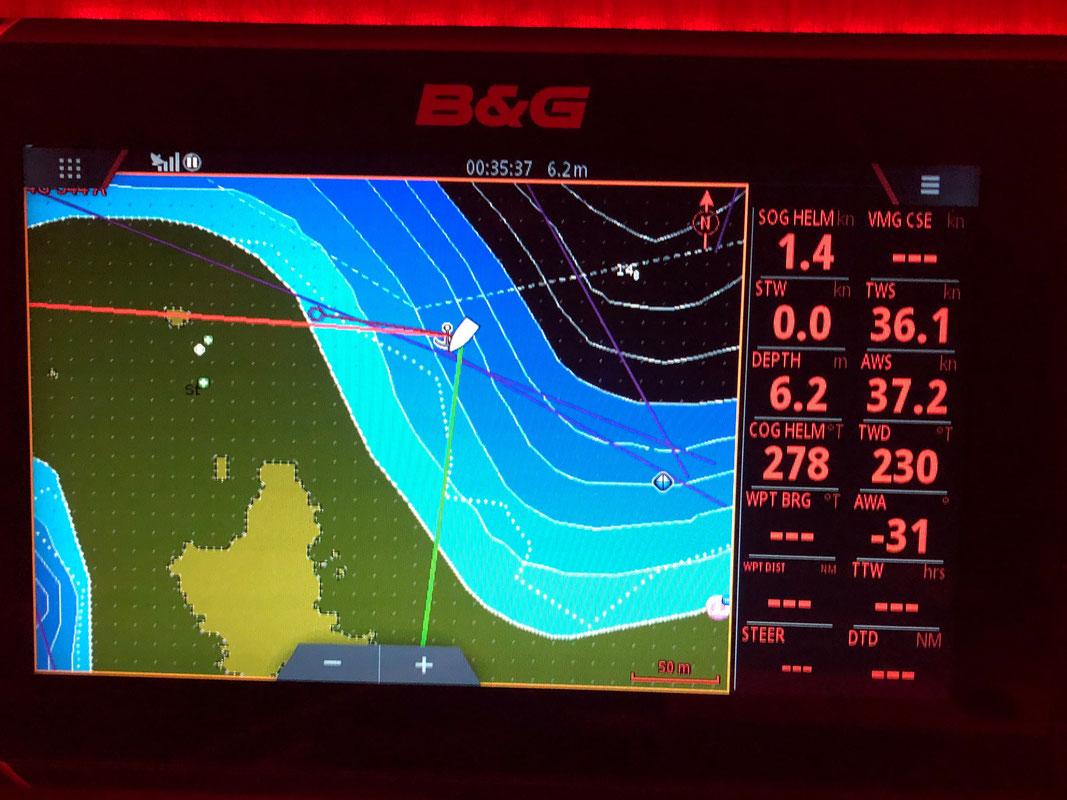 Ja, 37 Knoten Wind (die Uhrzeit ist in UTC, also 02:35 Ortszeit)