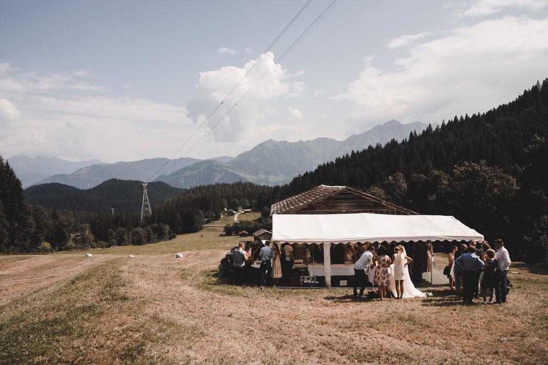 Hochzeitsaperitif in den Bergern