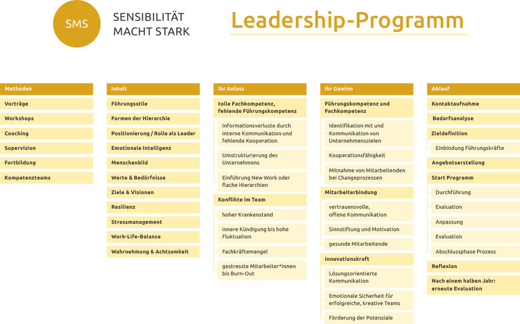 Leadership - Programm, Resilienz, Emotionale Intelligenz, Führungsstil, Hierarchie, Rollen als Leader, Wahrnehmung und Achtsamkeit, Fackkräfte werden zu Führungskräften