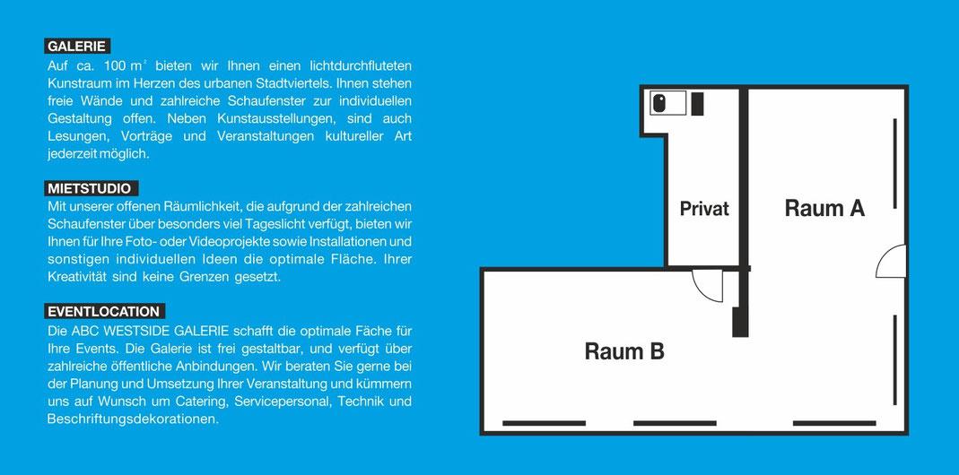 ABC Westside Galerie | Kunstraum zum Mieten | Schwanthaler Str. 176, 80339 München | Auf ca. 100 m² bieten wir Ihnen einen Kunstraum im Herzen des urbanen Stadtviertel. Ihnen stehen freie Wände und zahlreiche Schaufenster zur individuen Gestaltung offen.