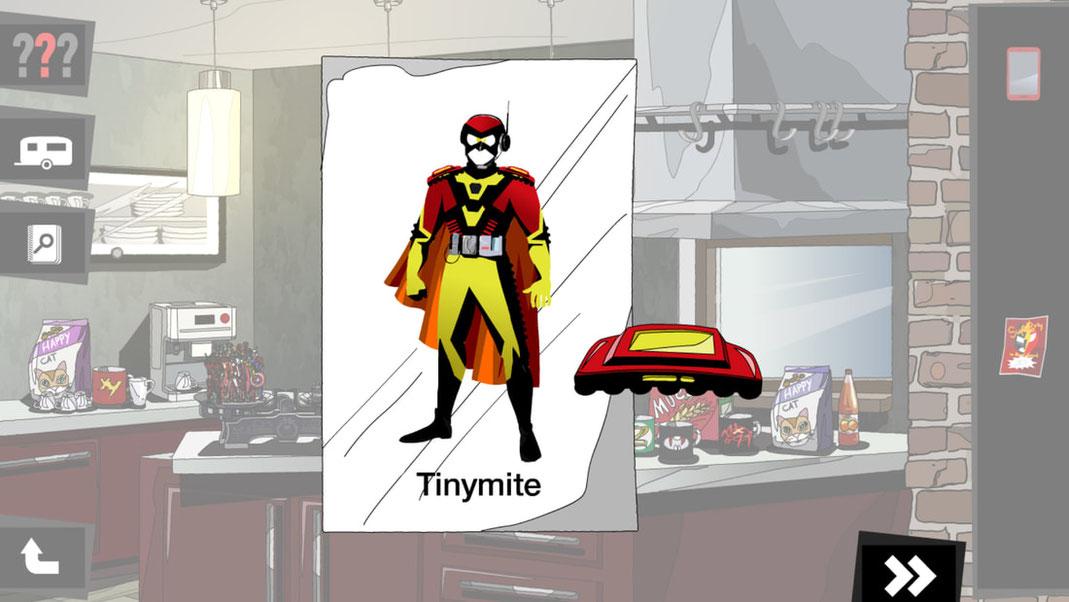 Die bereits erwähnten Figuren von Superhelden im Hintergrund und ein Bild von Dannys Kostüm