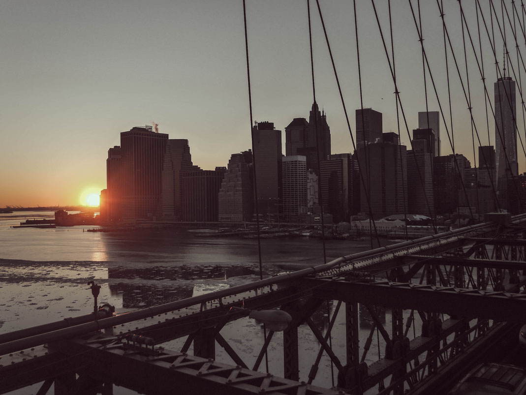 Coucher de soleil sur New-York - Pont de Brooklyn