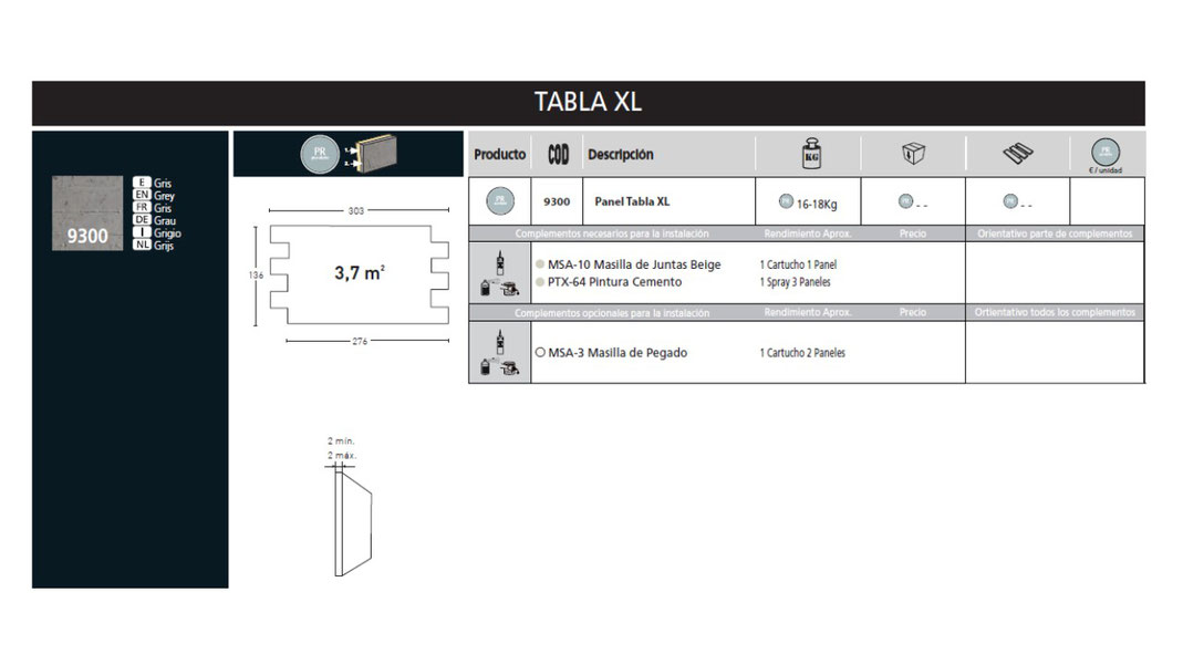 Panel Piedra Serie Cemento - Cemento Tabla XL PR-9300