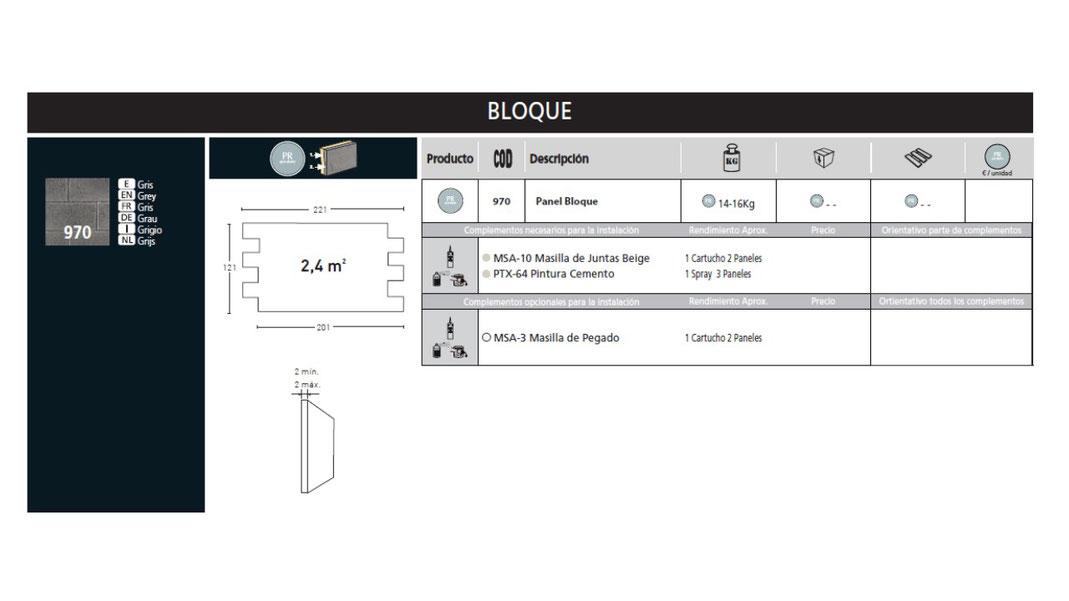 Panel Piedra Serie Cemento - Cemento Bloque PR-970