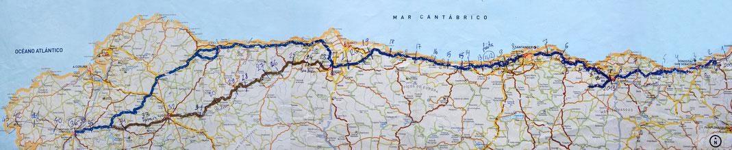 Šiaurinio Šv. Jokūbo kelio žemėlapis