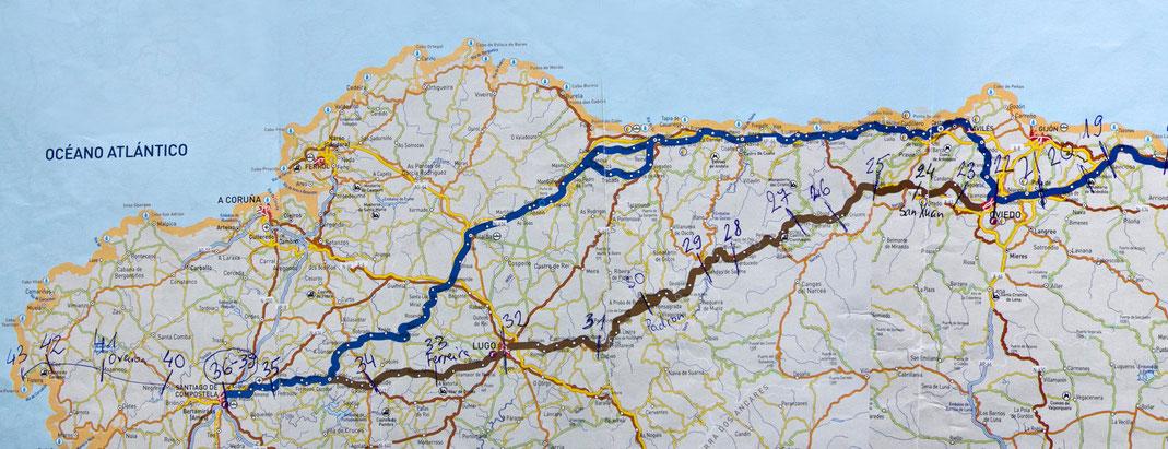 Primityviojo (Pirmykščio) Šv. Jokūbo kelio žemėlapis