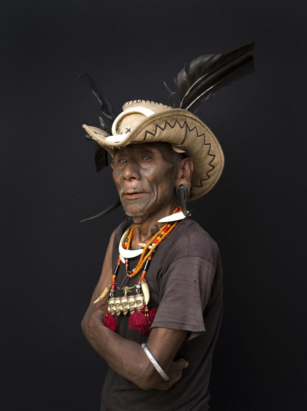 Konwang, tribu des koniaks, Nagaland. Jean-Christian Cottu