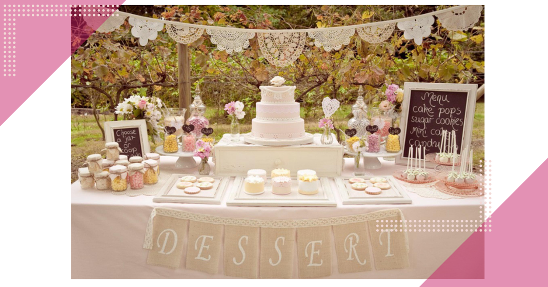 mesa de dulces de baby shower para niña