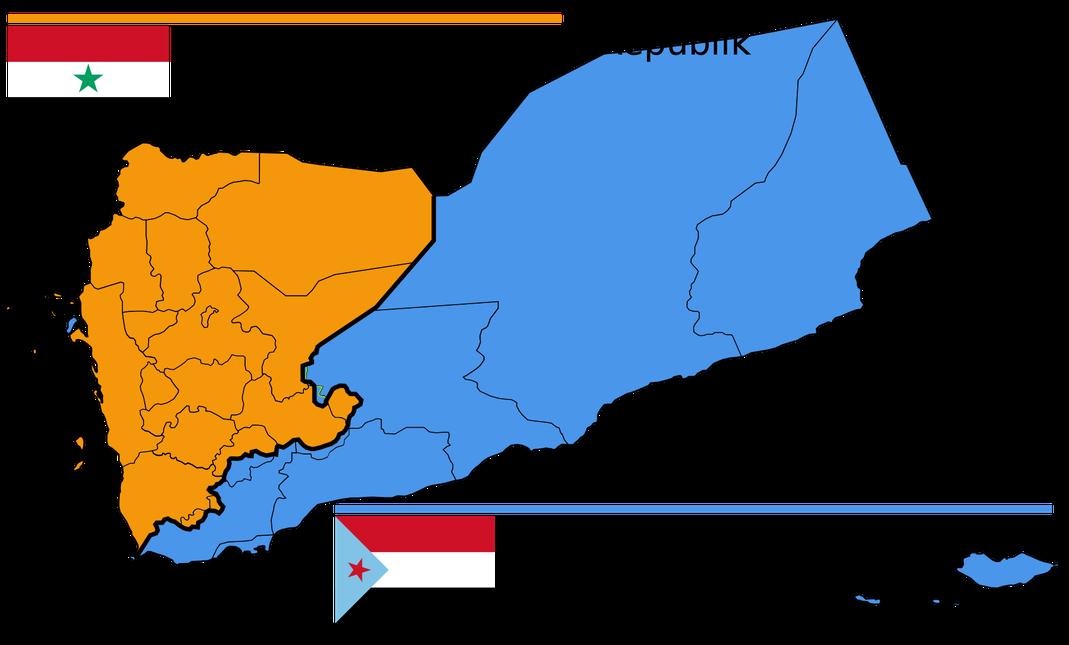 Die Jemenitische Arabische Republik (orange) umfasste die späteren Gouvernements des Jemen ʿAmrān, al-Baida', ad-Dali', Dhamar, al-Dschauf, Haddscha, al-Hudaida, Ibb, al-Mahwit, Ma'rib, Raima, Sa'da, Sanaa (sowie die Stadt Sanaa) und Ta'izz.