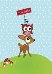 Karte,Glückwunschkarte,Einladungskarte,Eule,Vogel,Reh,Rehlein,Bambi,Grußkarte,Postkarte