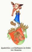 familienwappen blau rot gruen kopf mit bart schild mit krone