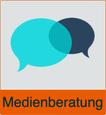 """Grafik von zwei Sprechblasen mit dem Vermerk """"Medienberatung"""""""