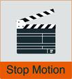 """Grafik von Filmklappe mit dem Vermerk """"Stop Motion"""""""