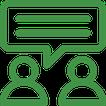 Icon zwei Menschen mit einer Sprechblase