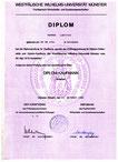 Diplom Urkunde der Westfälischen-Wilhelms-Universität Münster