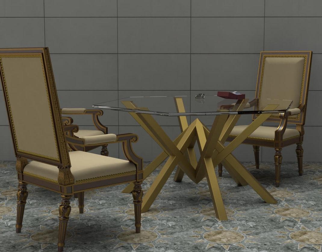 Table sur-mesure grand luxe pour joaillerie
