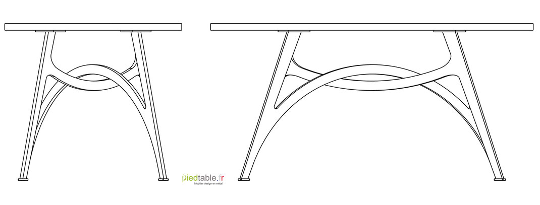 Pied de table sur-mesure en forme de voute