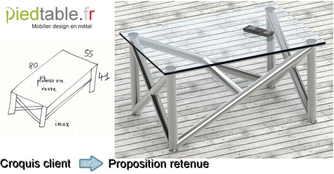 Pied de table en inox pour table basse design