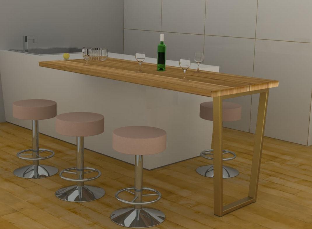 pied de table haute pour cuisine coloris laiton