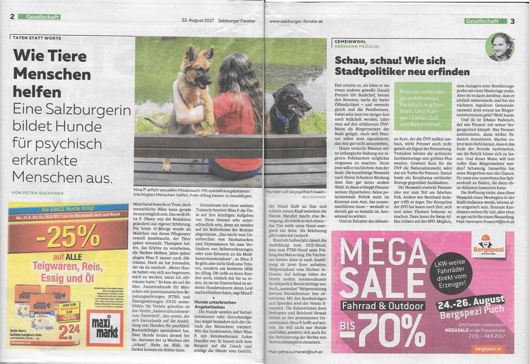 Artikel im Salzburger Fenster vom 21.08.2017