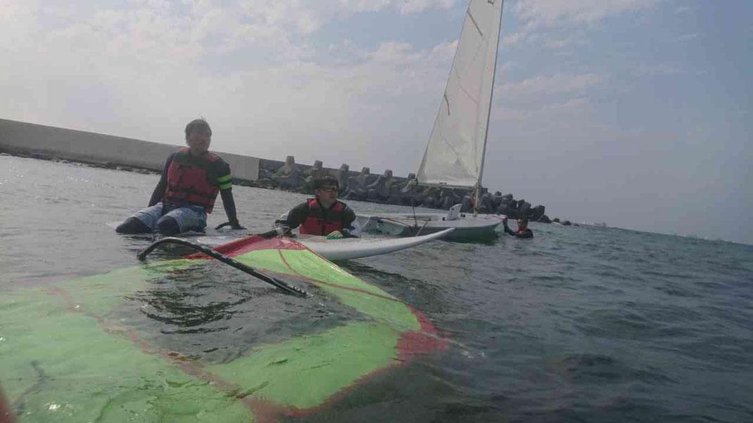 ウィンドサーフィン海上練習