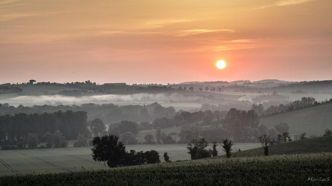 Lever de soleil à Loubens-Lauragais
