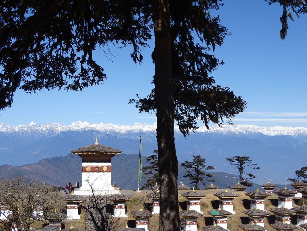 Die Klosterburg (Dzong) in Punakha liegt zwischen den beiden Flüssen Moochu und Poochu