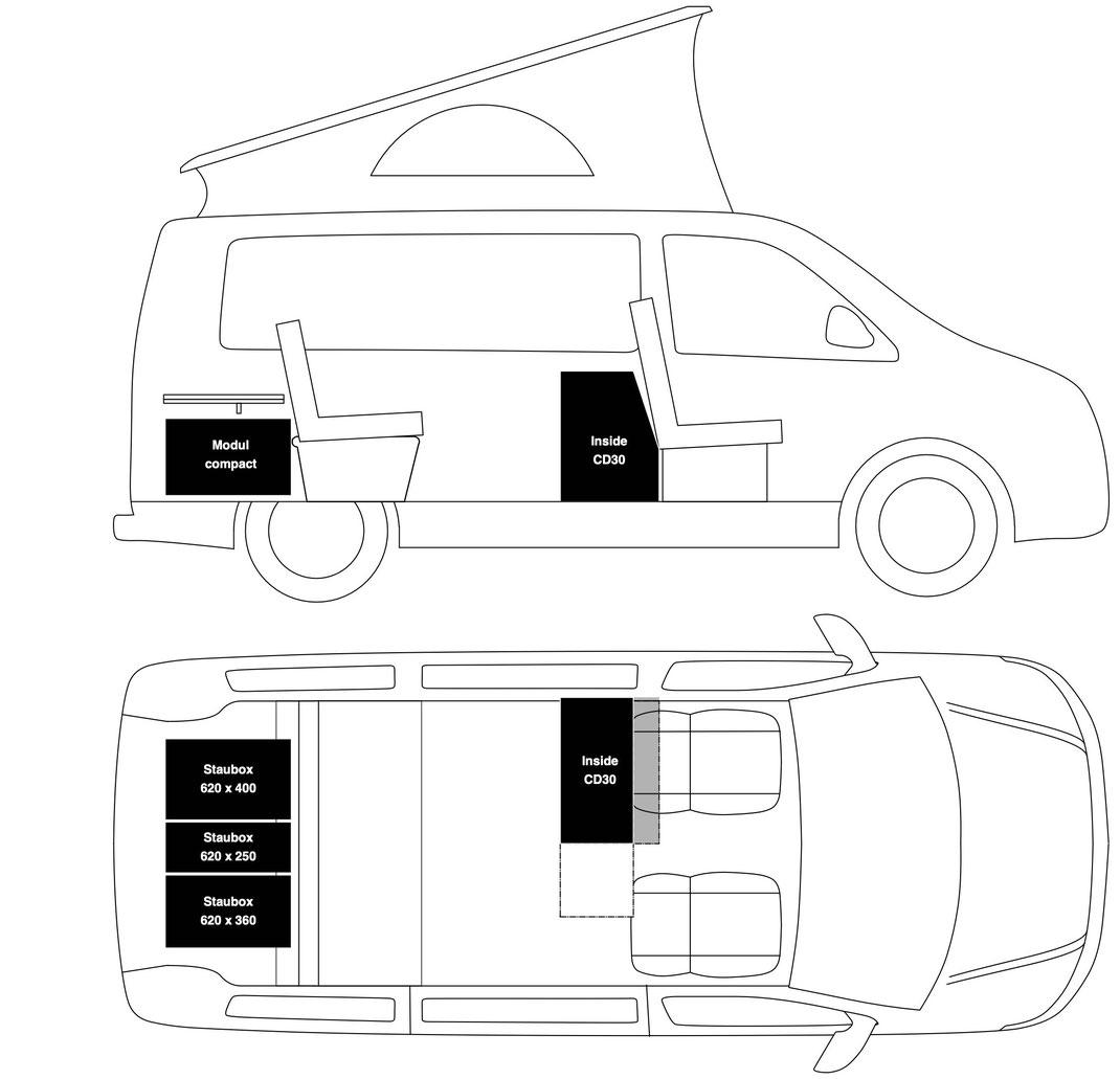 Calibox Inside CD30 mit Heckauszug Compact und Stauraummodule