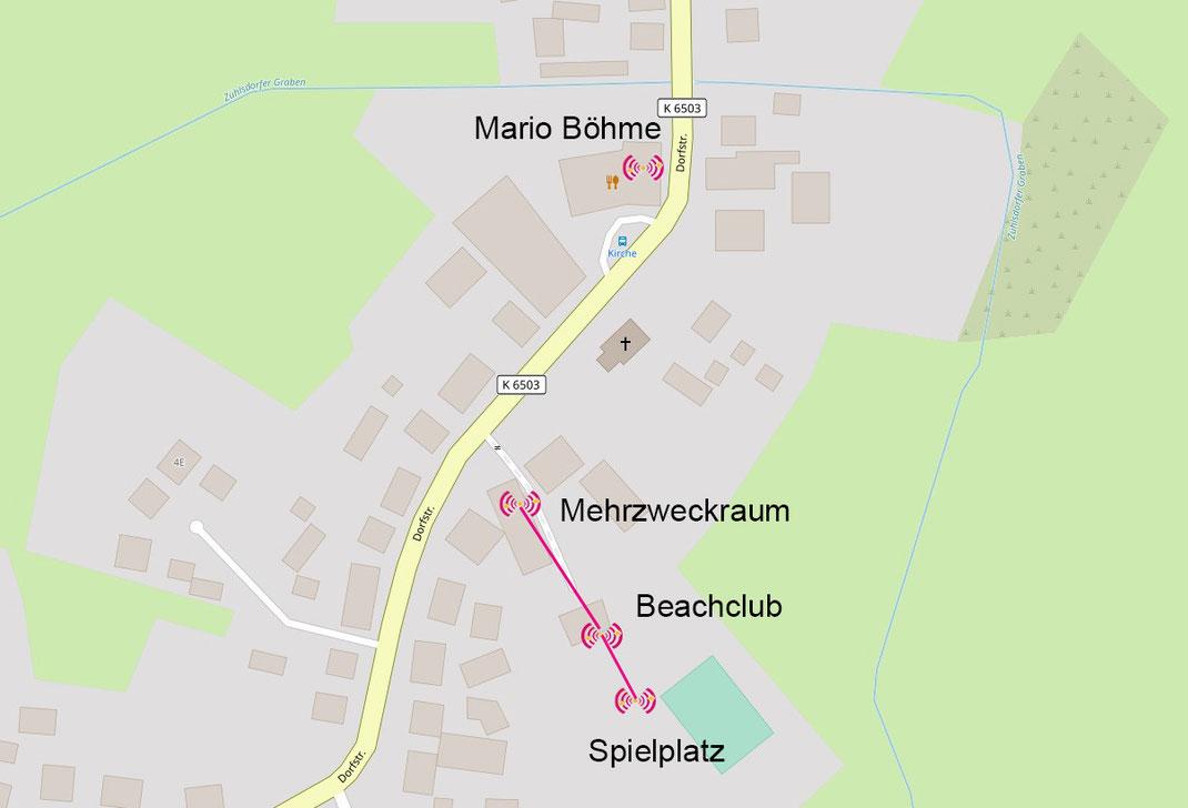 Freifunk-Karte von Zühlsdorf (ohne Bahnhofstube)
